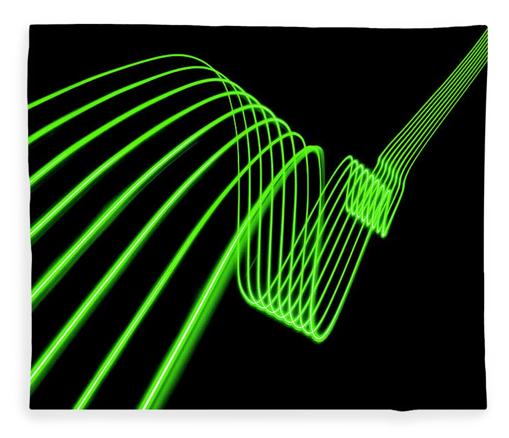 Laser Fleece Blanket featuring the photograph Green Abstract Coloured Lights Trails by John Rensten