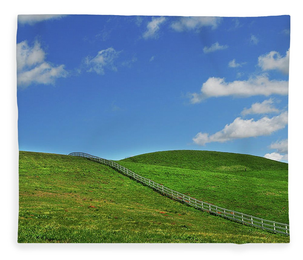 Scenics Fleece Blanket featuring the photograph Green Hills And Fence by Mitch Diamond