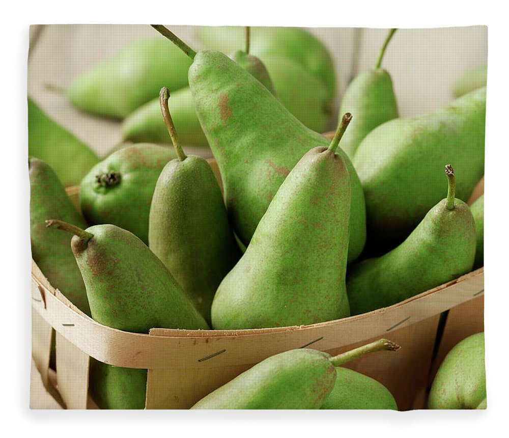 Fruit Carton Fleece Blanket featuring the photograph Green Pears In Punnet And Wooden Table by Chris Ted
