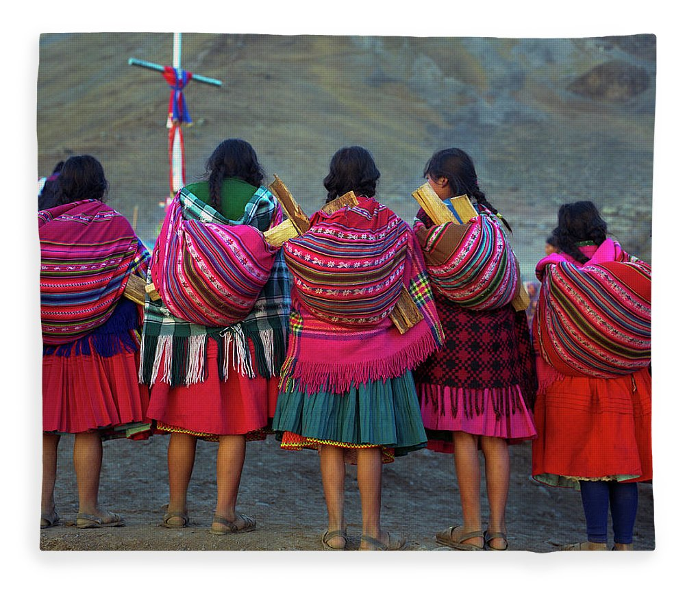 People Fleece Blanket featuring the photograph Group Of Peruvian Woman In Colorful by Linka A Odom