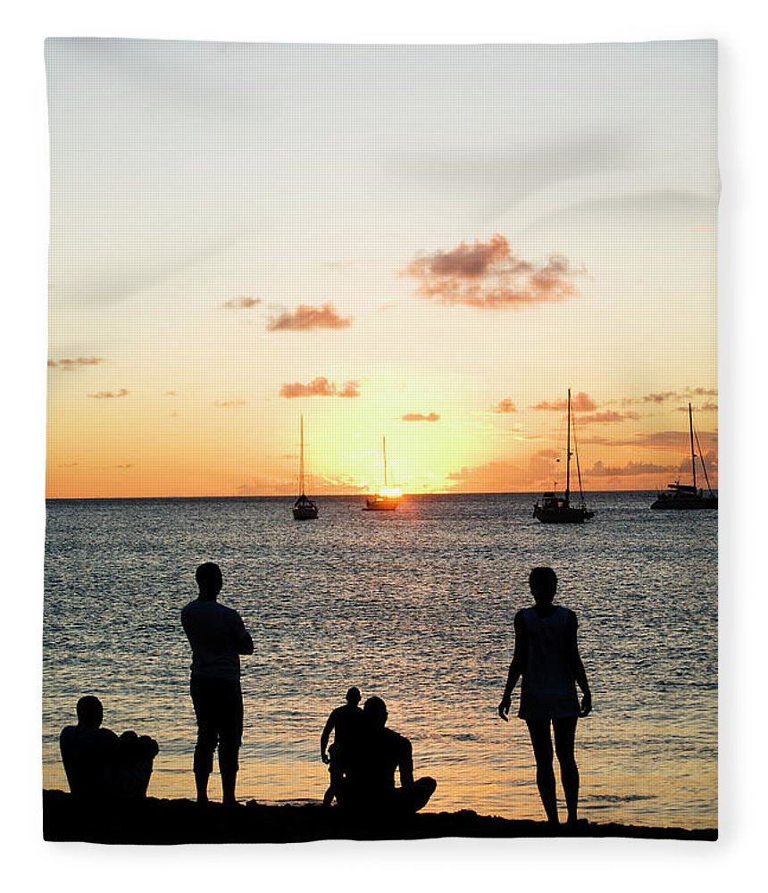 Recreational Pursuit Fleece Blanket featuring the photograph Group Of Young Friends On Beach At by Jaminwell