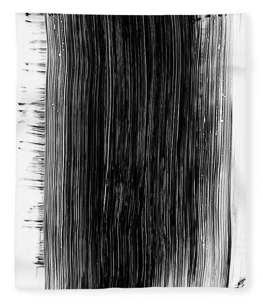 Art Fleece Blanket featuring the photograph Grunge Black Paint Brush Stroke by 77studio