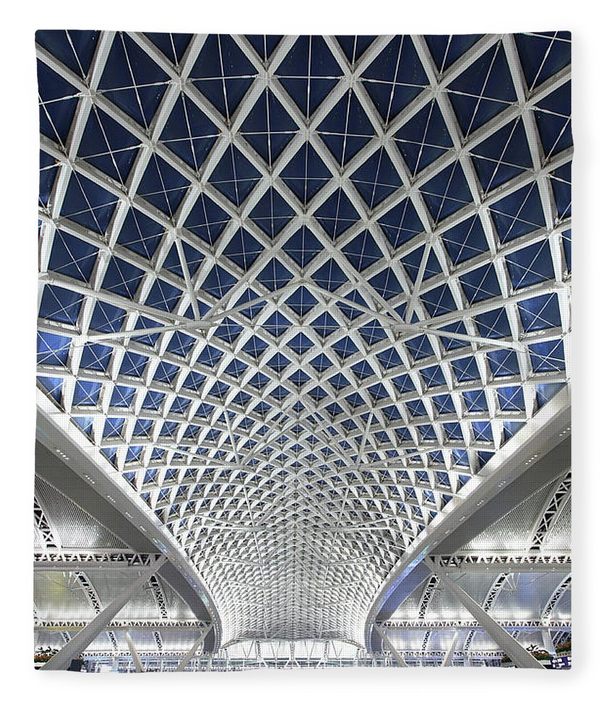 Chinese Culture Fleece Blanket featuring the photograph Guangzhou Railway Station by Real444
