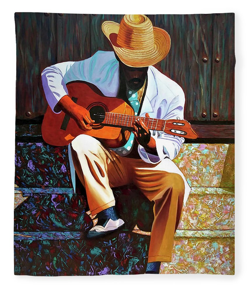 Cuban Fleece Blanket featuring the painting Guitar player #3 by Jose Manuel Abraham