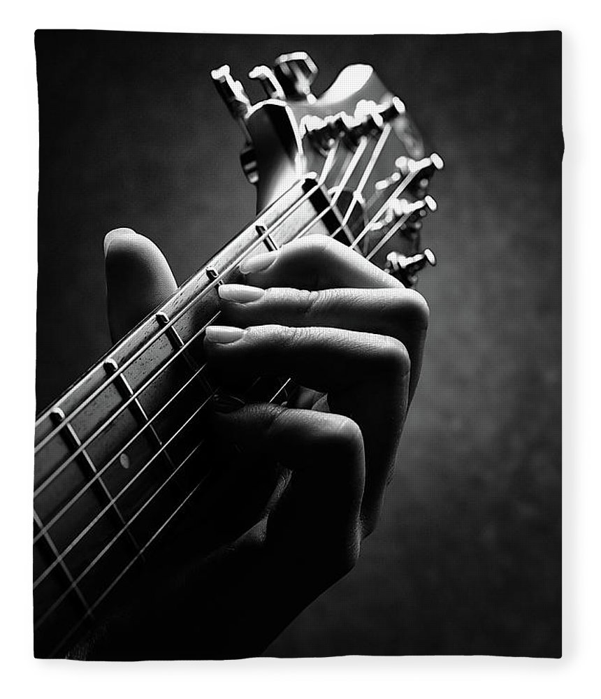 Guitar Fleece Blanket featuring the photograph Guitarist Hand Close-up by Johan Swanepoel