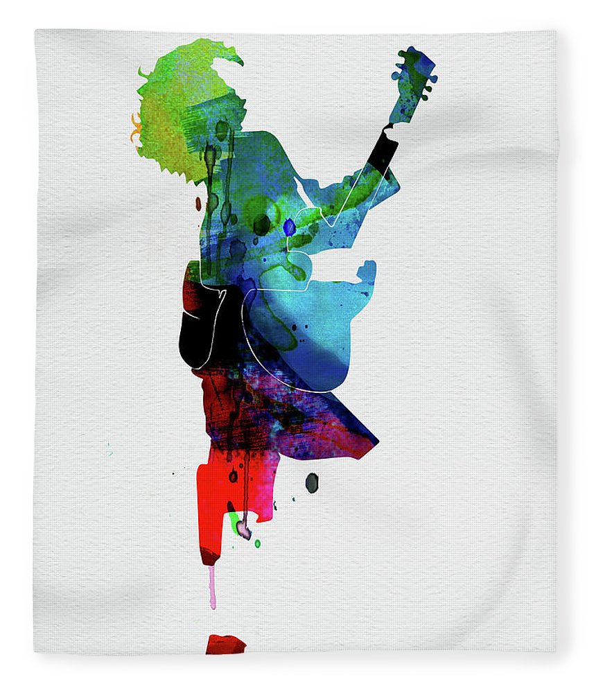 Guns N Roses Fleece Blanket featuring the digital art Guns Watercolor by Naxart Studio