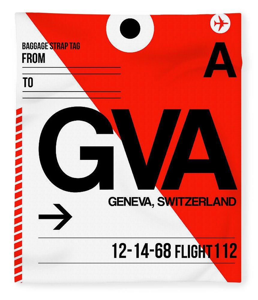 Vacation Fleece Blanket featuring the digital art Gva Geneva Luggage Tag I by Naxart Studio