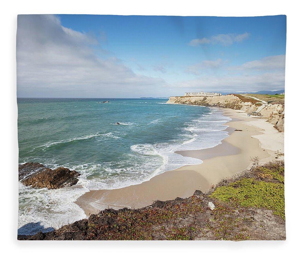 Water's Edge Fleece Blanket featuring the photograph Half Moon Bay California by Stevegeer