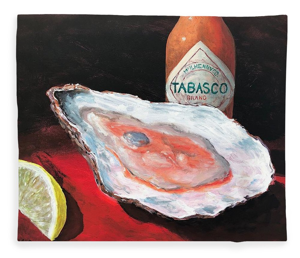 Oyster Fleece Blanket featuring the painting Half Shell by Paul Emig