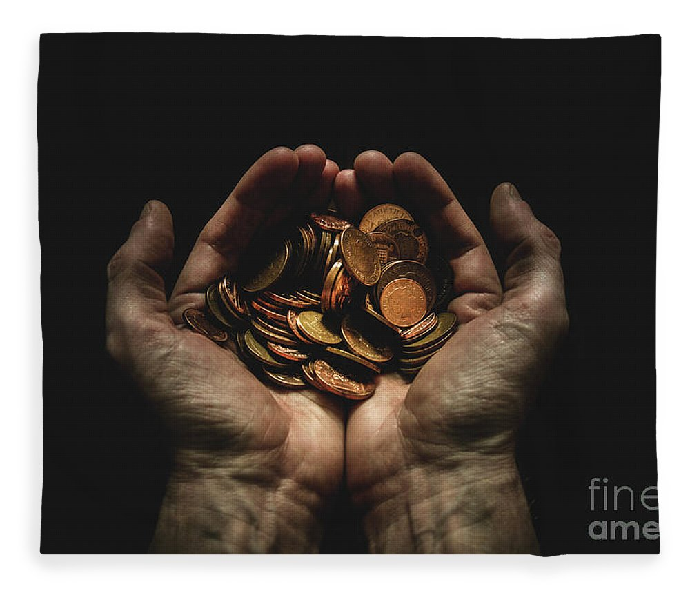 Coin Fleece Blanket featuring the photograph Hands Holding Coins Against Black by Andy Kirby