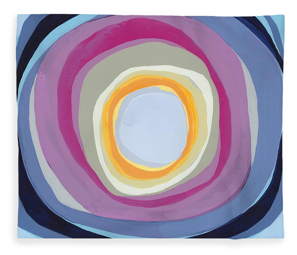 Abstract Fleece Blanket featuring the painting Hang Cool by Claire Desjardins