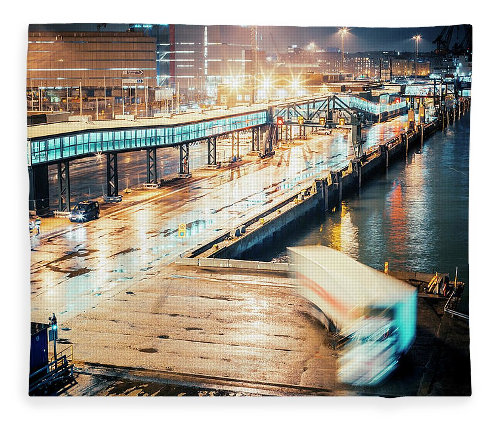 Industrial District Fleece Blanket featuring the photograph Harbor Area by Peeterv