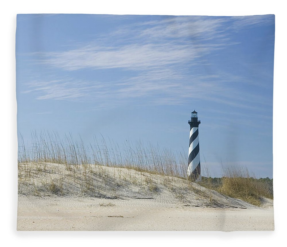 North Carolina Fleece Blanket featuring the photograph Hatteras Lighthouse And The Dunes by Myhrcat