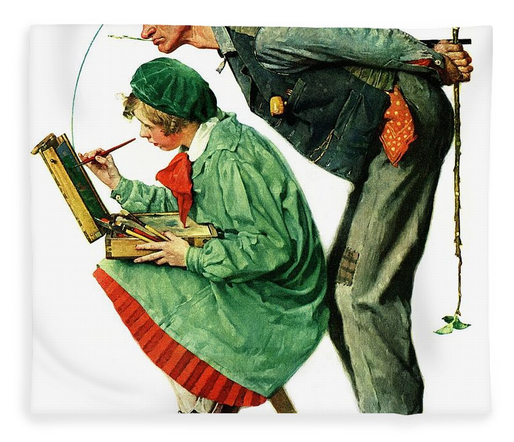 Artists Fleece Blanket featuring the drawing hayseed Critic by Norman Rockwell
