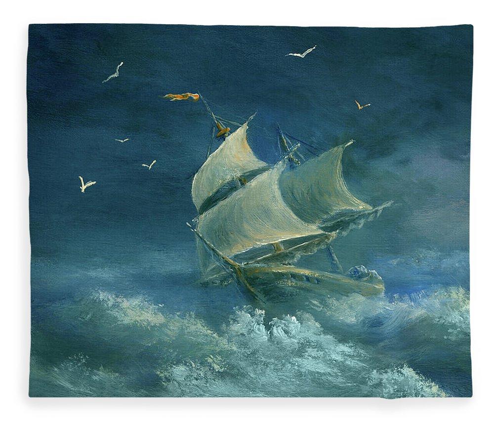 Image Fleece Blanket featuring the digital art Heavy Gale by Pobytov