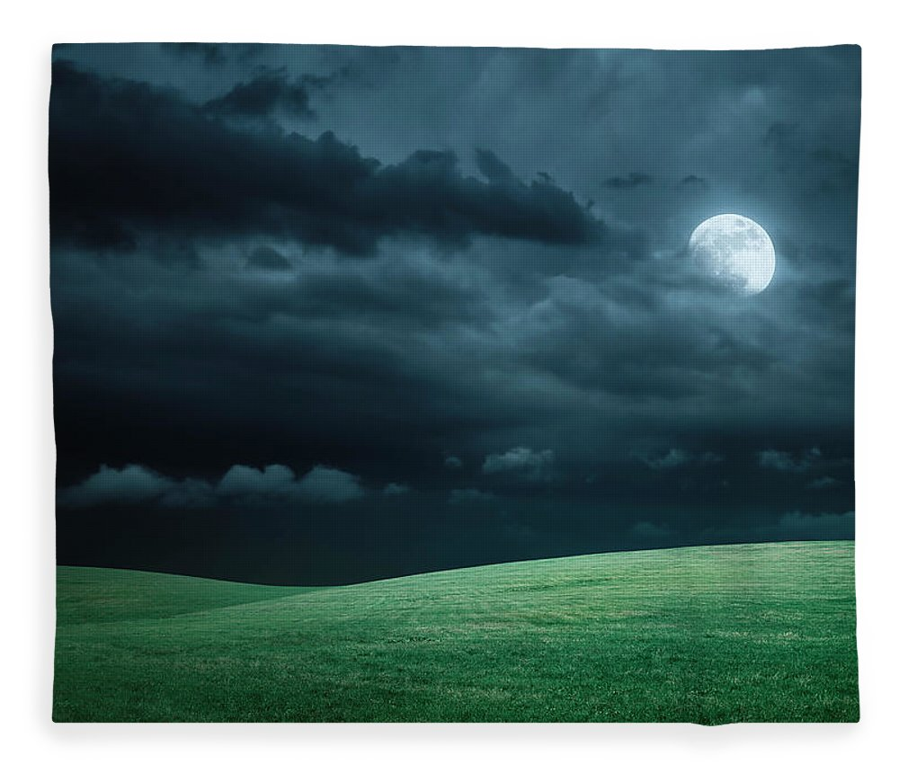 Scenics Fleece Blanket featuring the photograph Hilly Meadow At Night With Full Moon by Spooh