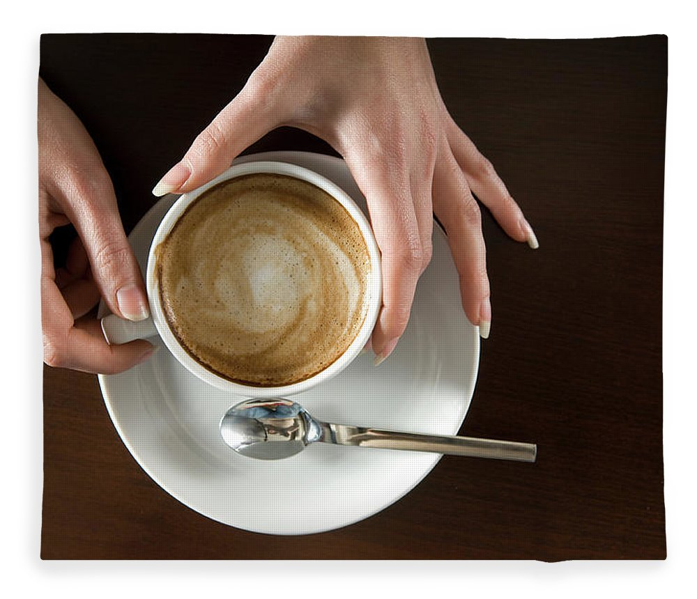 Spoon Fleece Blanket featuring the photograph Holding Cappuccino by 1001nights