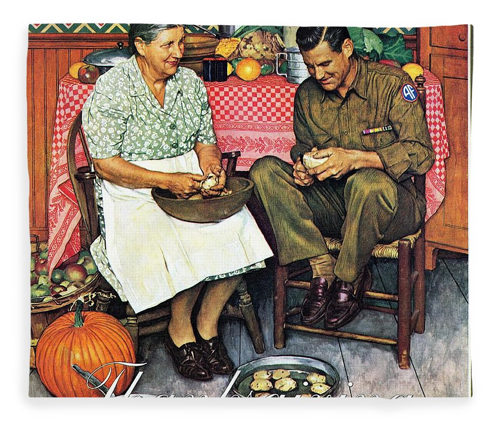 Kitchens Fleece Blanket featuring the drawing Home For Thanksgiving by Norman Rockwell