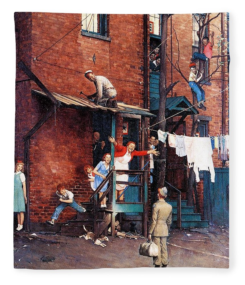 Alley Fleece Blanket featuring the drawing Homecoming G.i. by Norman Rockwell
