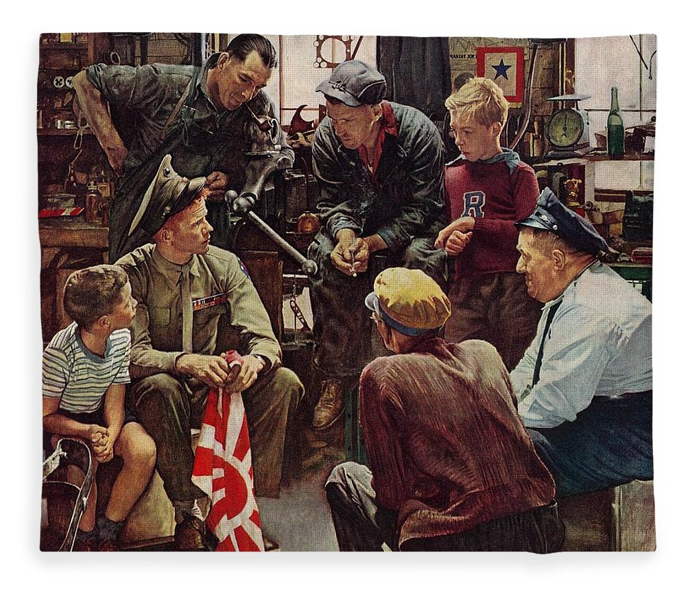 Flags Fleece Blanket featuring the drawing Homecoming Marine by Norman Rockwell