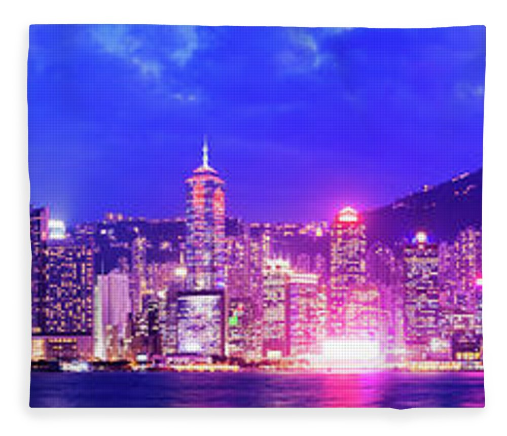 Downtown District Fleece Blanket featuring the photograph Hong Kong City Skyline In China by Deejpilot