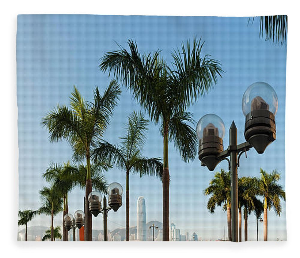 Chinese Culture Fleece Blanket featuring the photograph Hong Kong Clock Tower Ferry Terminal by Fotovoyager