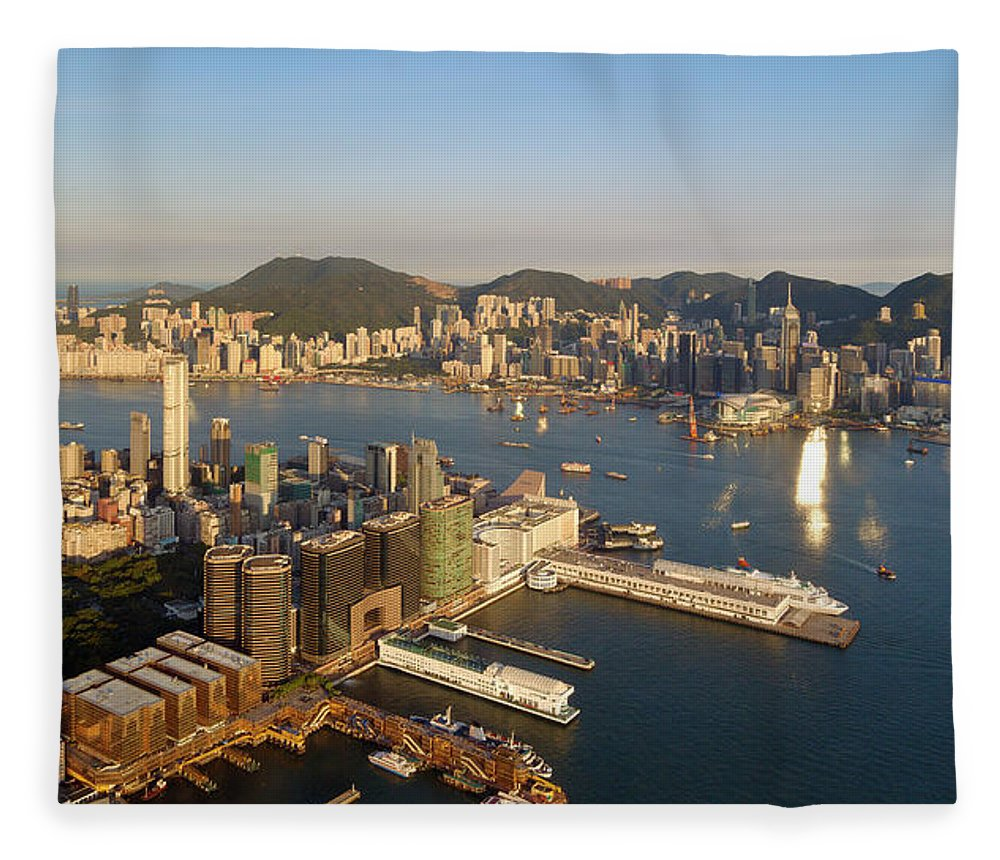 Chinese Culture Fleece Blanket featuring the photograph Hong Kong Harbor Super Panorama by Yuenwu