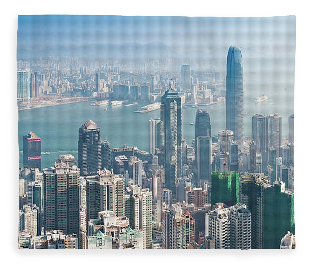New Territories Fleece Blanket featuring the photograph Hong Kong Iconic Skyscraper City by Fotovoyager