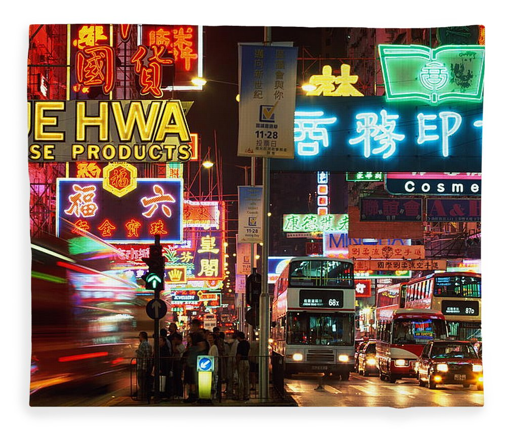Chinese Culture Fleece Blanket featuring the photograph Hong Kong, Kowloon, Temple Street by Walter Bibikow