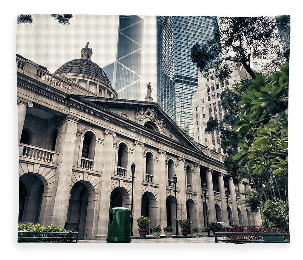 Chinese Culture Fleece Blanket featuring the photograph Hong Kong Legislative Council by Laoshi