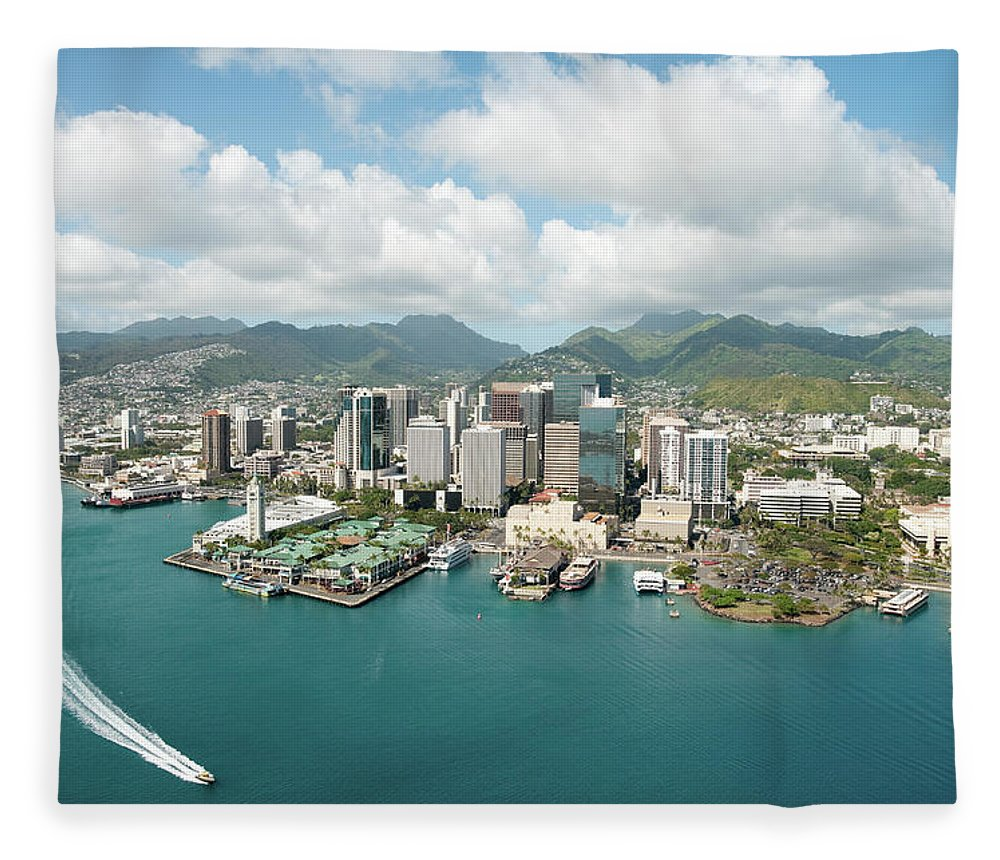 Honolulu Fleece Blanket featuring the photograph Honolulu Skyline Shot From A Helicopter by 400tmax