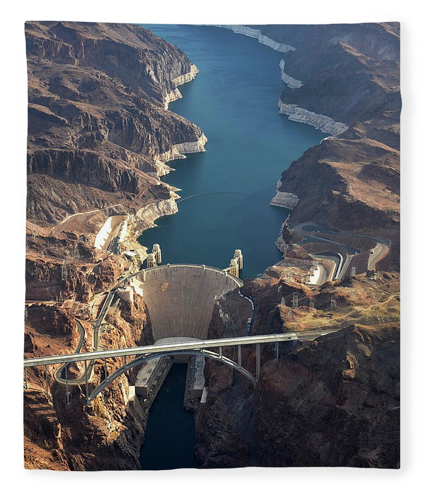 Scenics Fleece Blanket featuring the photograph Hoover Dam Aerial by Iwcrabbe
