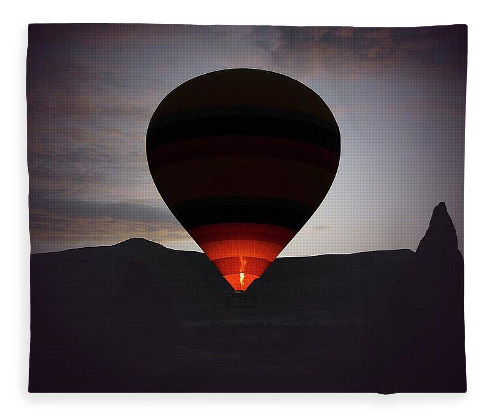 Hot Air Balloon Fleece Blanket featuring the photograph Hot Air Ballon by M.cantarero