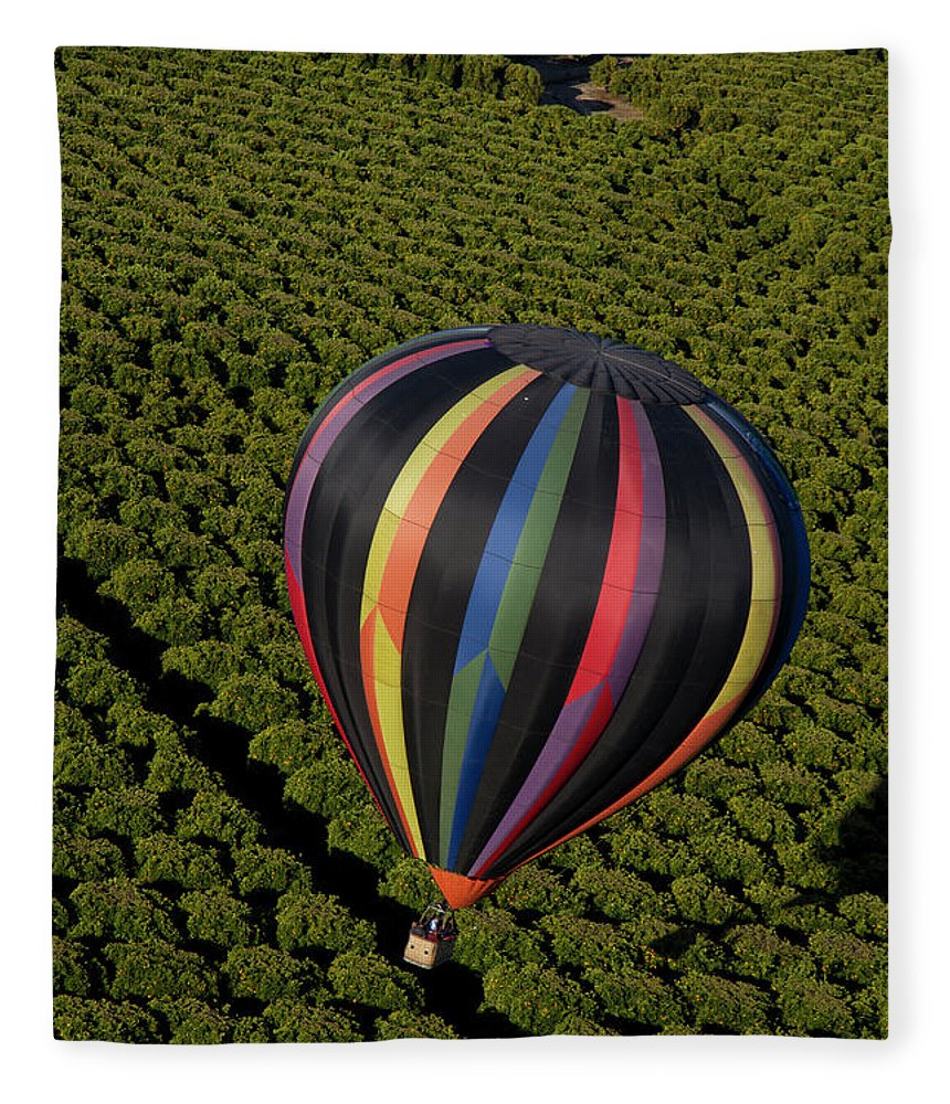 Tranquility Fleece Blanket featuring the photograph Hot Air Balloon by Holly Harris