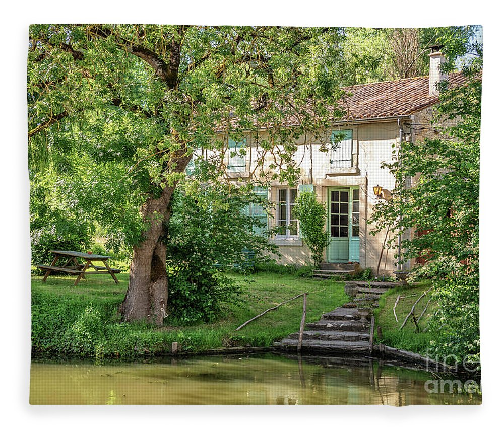 Marais Potevin Fleece Blanket featuring the photograph House In The Marais Poitevin by Delphimages Photo Creations