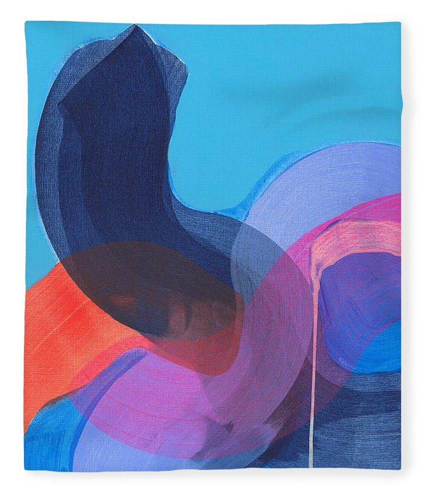 Abstract Fleece Blanket featuring the painting How Did It Get To Be So Late? by Claire Desjardins