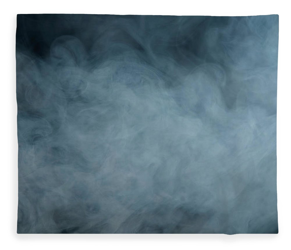 Air Pollution Fleece Blanket featuring the photograph Huge White Cloud Of Smoke In A Dark Room by Lastsax