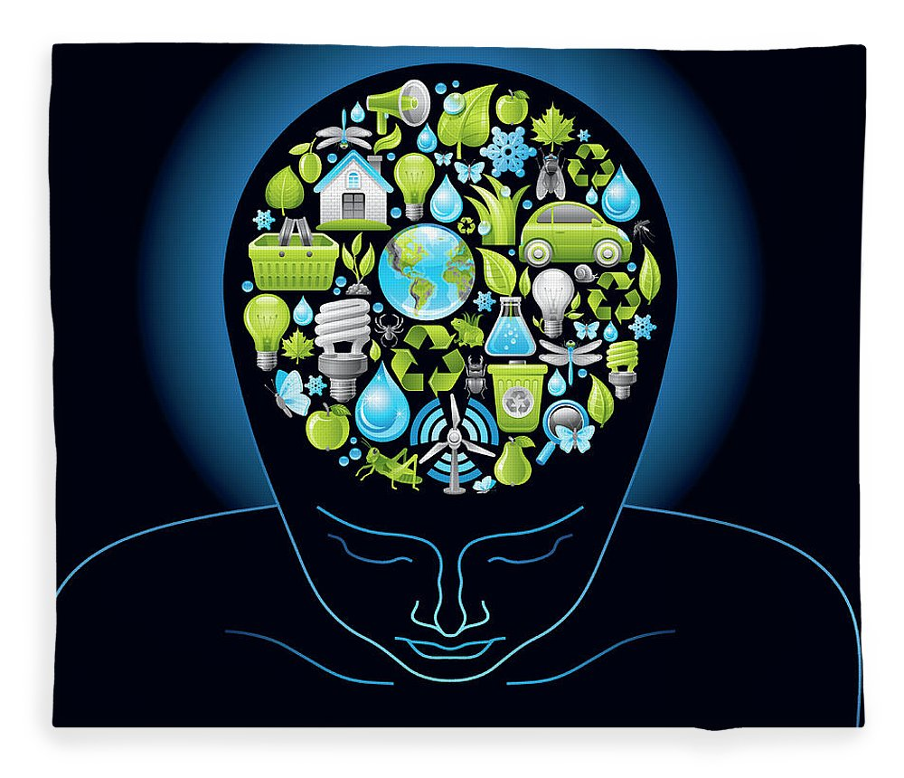 Expertise Fleece Blanket featuring the digital art Human Head With Ecological Symbols In by O-che