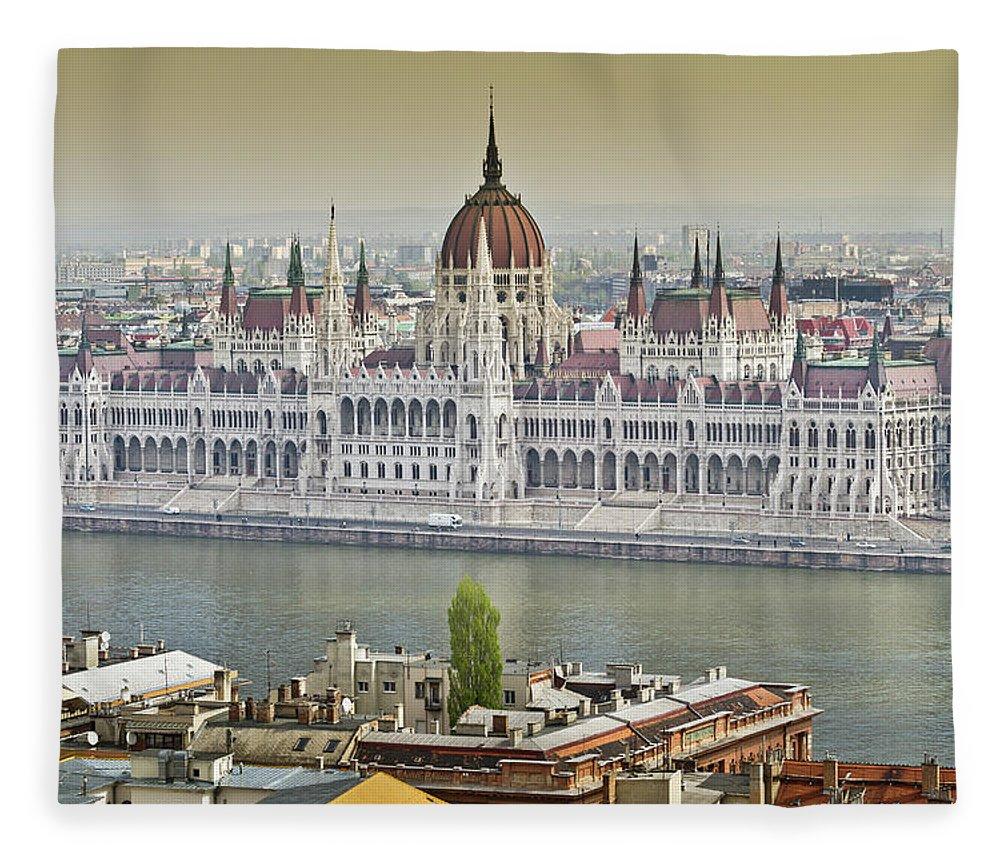 Hungarian Parliament Building Fleece Blanket featuring the photograph Hungarian Parliament Building by (c) Thanachai Wachiraworakam