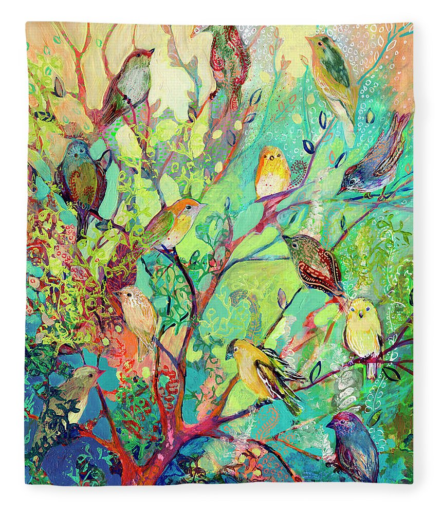 Bird Fleece Blanket featuring the painting I Am the Place of Refuge by Jennifer Lommers