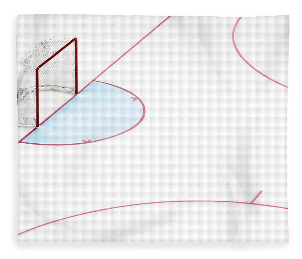 Sport Fleece Blanket featuring the photograph Ice Hockey Goal Net And Empty Rink by David Madison
