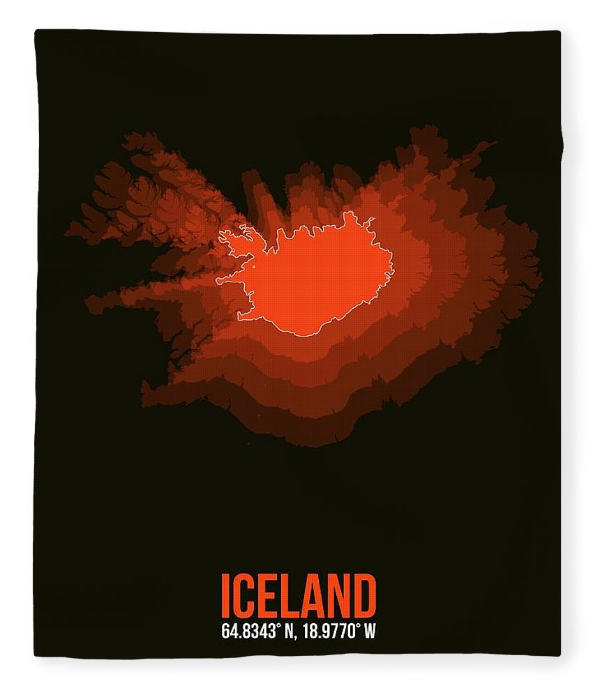 Map Of Iceland Fleece Blanket featuring the digital art Iceland Radiant Map I by Naxart Studio