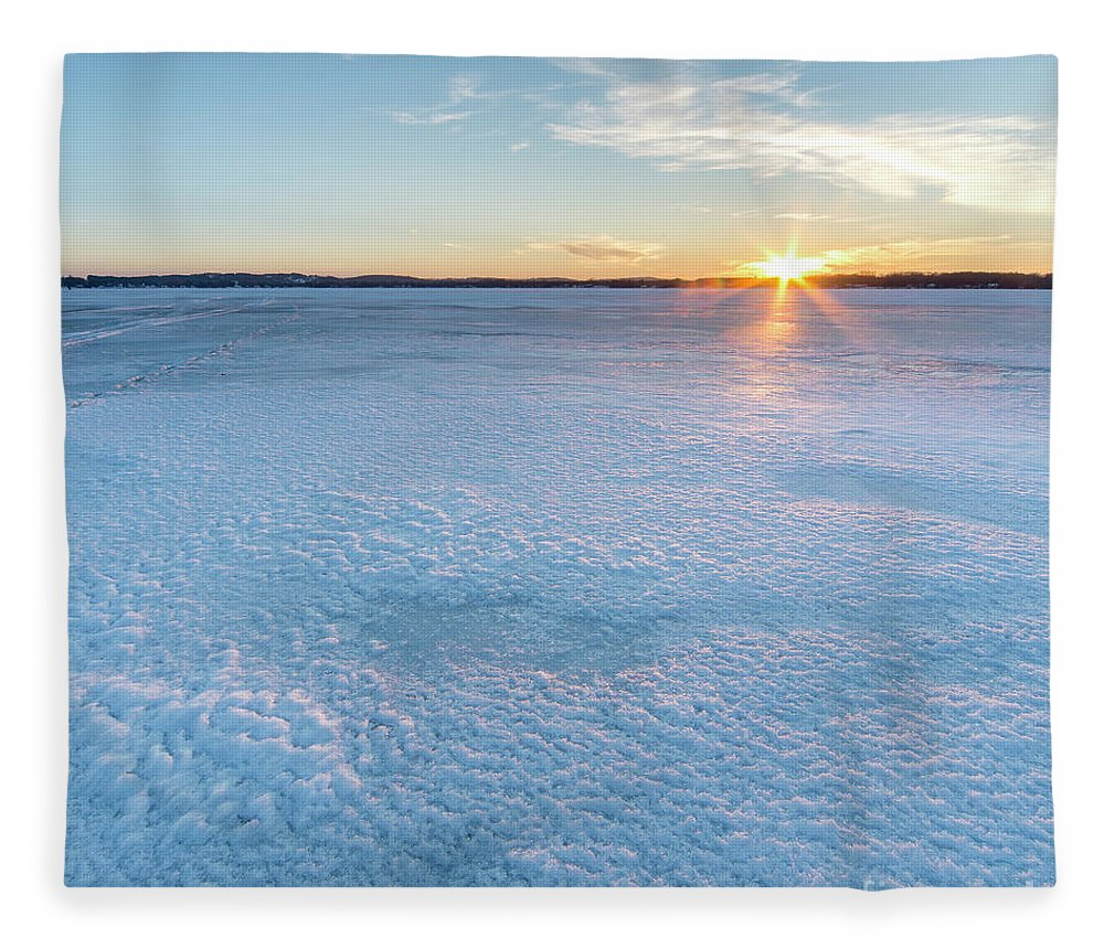 Bear Lake Fleece Blanket featuring the photograph Icy Sunset Square by Twenty Two North Photography