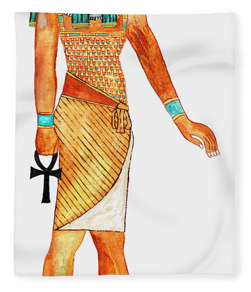 Watercolor Painting Fleece Blanket featuring the digital art Illustration Of Ancient Egyptian God Of by Dorling Kindersley