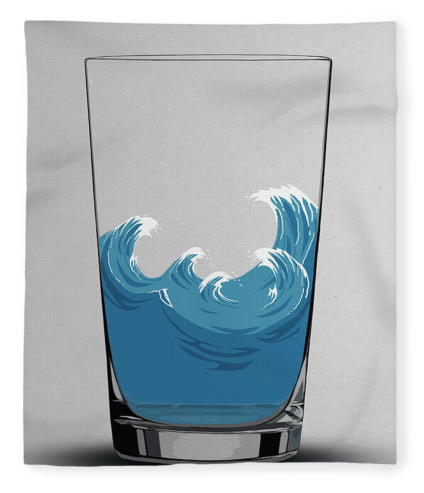 Concepts & Topics Fleece Blanket featuring the digital art Illustration Of Choppy Waves In A Water by Malte Mueller