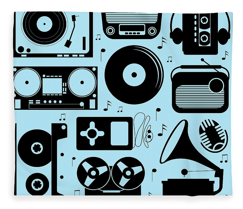 Music Fleece Blanket featuring the digital art Illustration Of Different Musical by Olillia