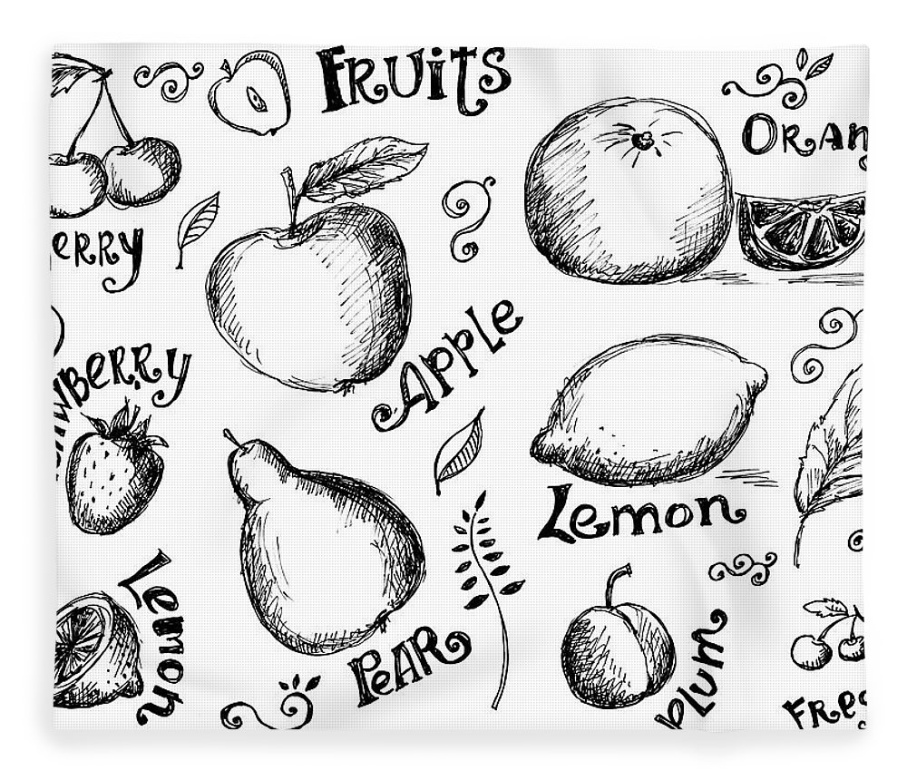Doodle Fleece Blanket featuring the digital art Illustrations Of Various Fruits And by Kalistratova