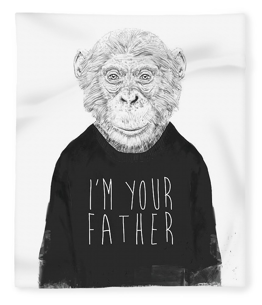 Monkey Fleece Blanket featuring the mixed media I'm Your Father by Balazs Solti