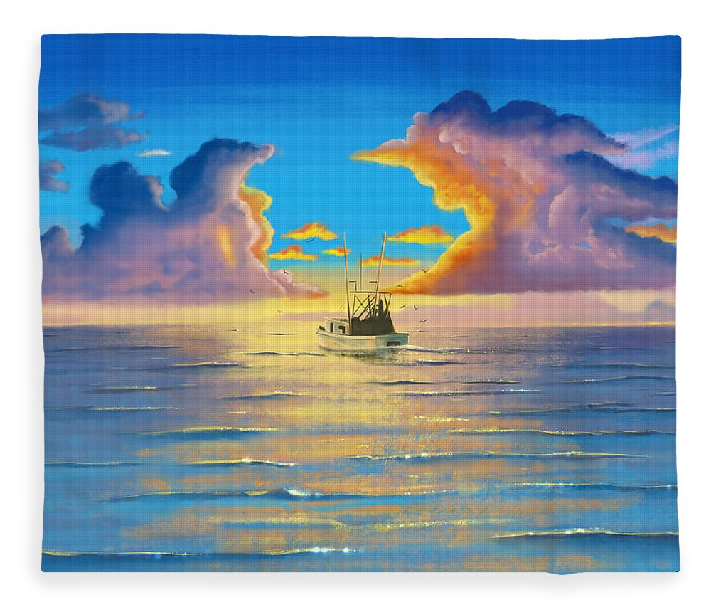 Calm Fleece Blanket featuring the digital art In To The Mystic by Kevin Putman