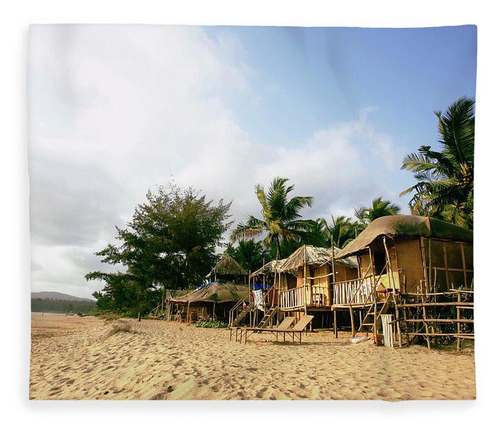 Scenics Fleece Blanket featuring the photograph India, Goa, Beach Huts On Agonda Beach by Sydney James